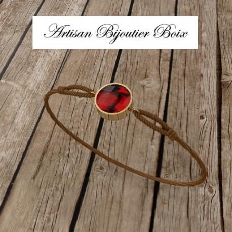 Bracelet 8 mm fil rouge et or 18 carats serti grenat catalan