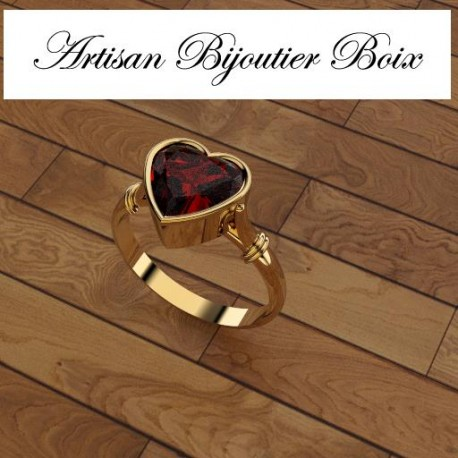 bague or grenat catalan coeur
